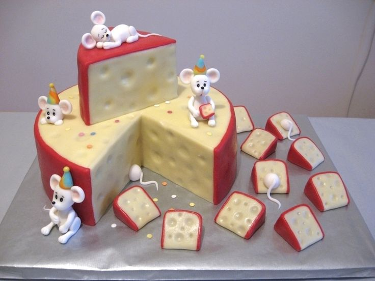 Mouse and Cheese themed Cake 3 of 3, via cake central. Mice, hats and confetti