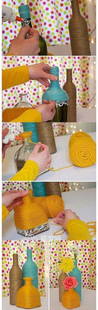 Cómo hacer botellas decoradas con cuerdas