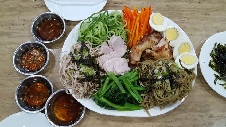 Very Green Take on Soba Dish. Matcha & Original Soba, Cooked Pork Shoulder, Grilled Fish, Eggs & Loads of Veggies