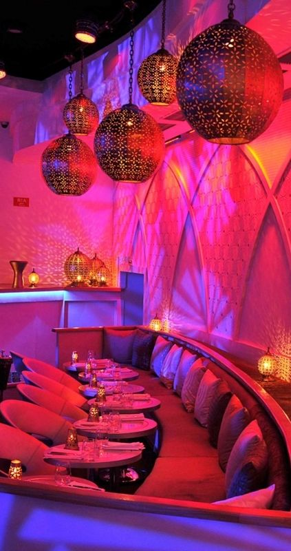 This ultra-modern lantern filled restaurant serves contemporary French-Moroccan cuisine. Marrakech, Morocco