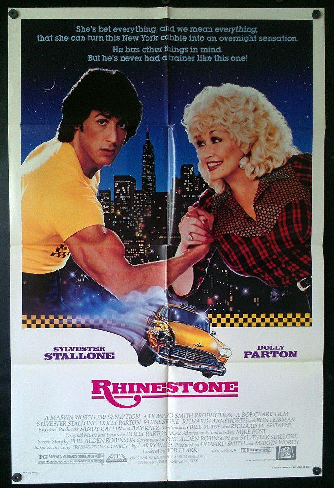 Rhinestone - Original 1984 Comedy Movie Poster - Sylvester Stallone Dolly Parton - Can She Turn A Cabbie Into A Country Star?