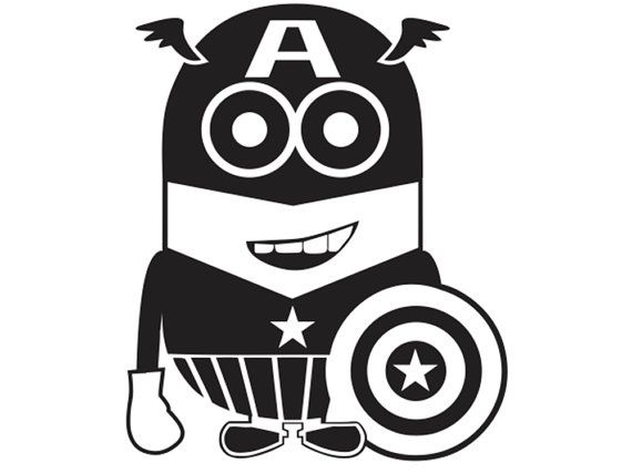 Captain america minion vinyl decal kid ml5 3 via etsy