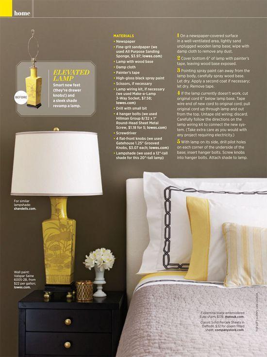 door knobs as lamp feet.: Decor, Lamps, Drawer Knobs, Bedroom Colors, Diy Craft, Yellow, Bedroom Ideas