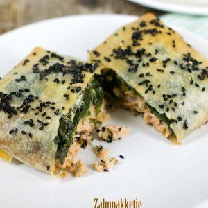 Zalm met spinazie in filodeeg