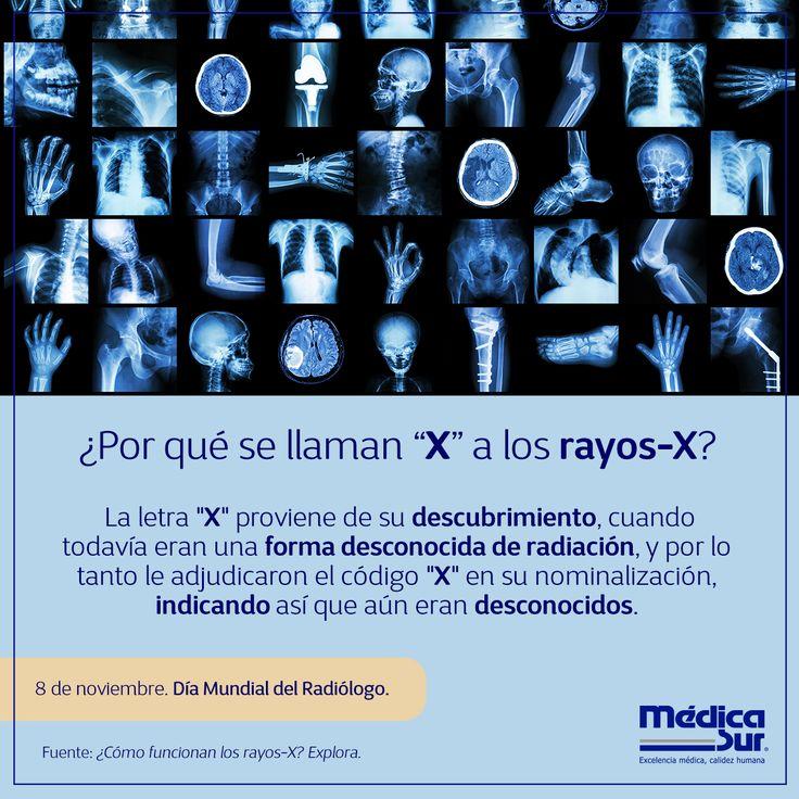 """La #radiología viene del sustantivo latino """"radius"""", que significa """"rayo"""", y de la palabra griega """"logia"""", que es sinónimo de """"estudio"""". Ésta es el uso médico de la radiación para diagnosticar y tratar diversos problemas de #salud.  #DíaMundialdelRadiólogo"""