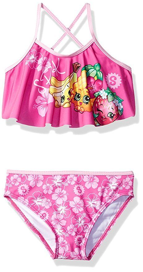 0fe740eec2b55 Join the Shopkins for a swim wearing this darling bikini style swimsuit!  Perfect for the beach or kickin' around the pool, this girls bathing suit  is a ...