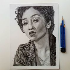 Jen Kemmett Art - I took some pics in the actual daylight. I need to invest in better lights. lol! I'm calling Tulip O' Hare officially done. On to the next one!   .  .  .  .  #graphitedrawing #graphite #drawing #art #artoftheday #pencilart #pencil #portrait #fanart #ruthnegga #tulip #tulipohare #amc #preacheramc #vertigocomics #Preacher  #jenkemmett  #portraitart #mystaedtler #strathmoreart
