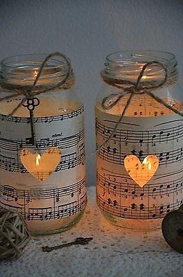 2 Vintage Sheet Music Wedding Jars Rustic Candle Holder Vase Gift