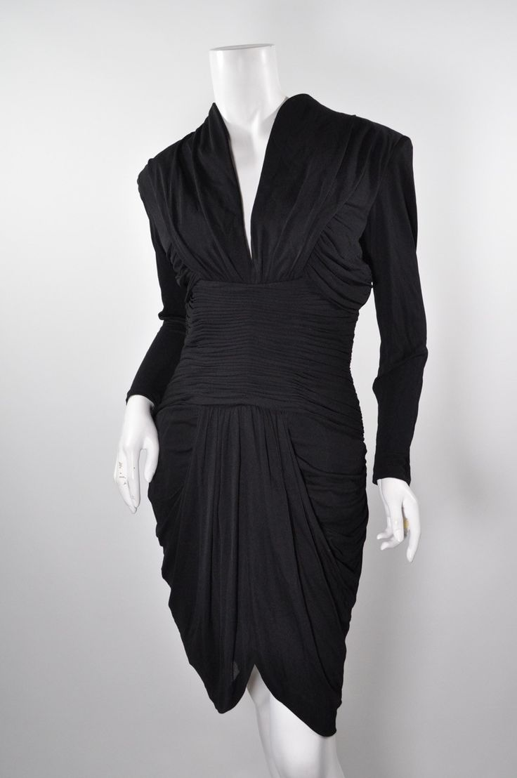 VICKY TIEL COUTURE Black Rayon Vintage Dress Sz 40