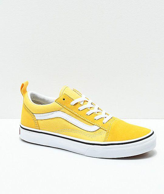 d761cdacde Vans Old Skool Yellow   True White Skate Shoes in 2019