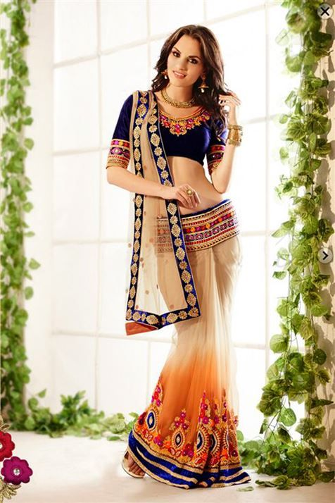 Designer Off white Net Lehenga Saree