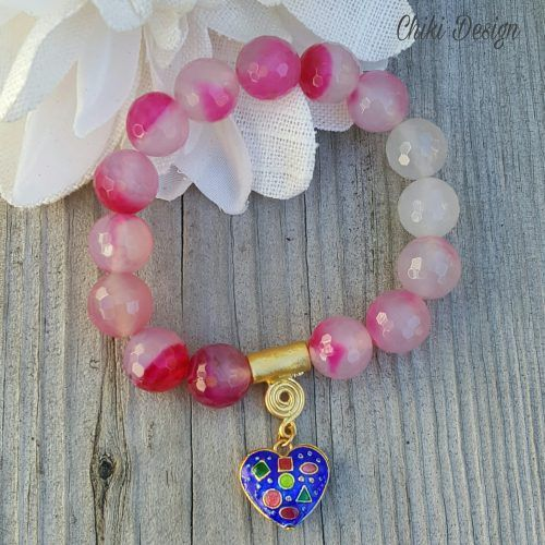 Pink and white Agate bead bracelet with Enamel Heart Charm – Chiki Custom made unique jewelry. Chiki Design
