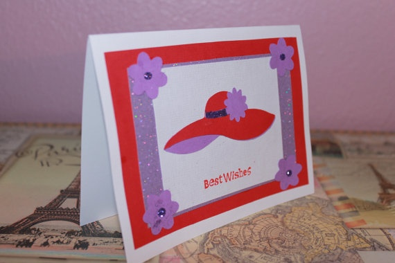Best Wishes Red Hat Ladies handmade greeting card by AnLieDesigns, $2.00: Greeting Card
