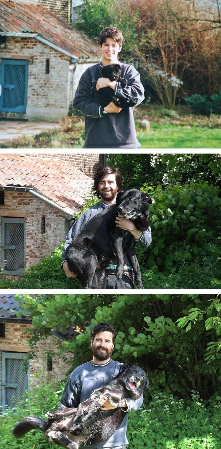 Se tomó una foto con su nuevo perro hace 15 años. Ahora recreó la imagen para despedirse de su amigo