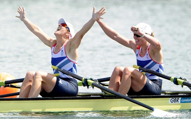 Katherine Grainger and Anna Watkins of Great Britain celebrate after winning gold in the Women's Double Sculls finalPicture: GETTY IMAGES