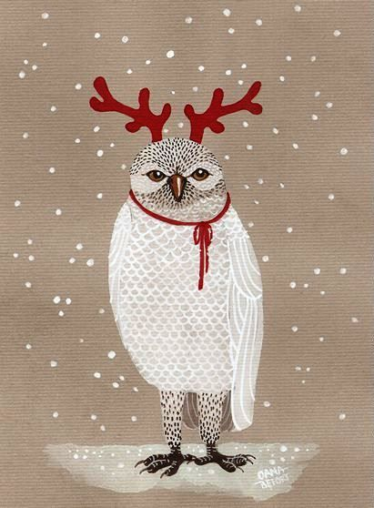 owl with reindeer horns by Oana Befort