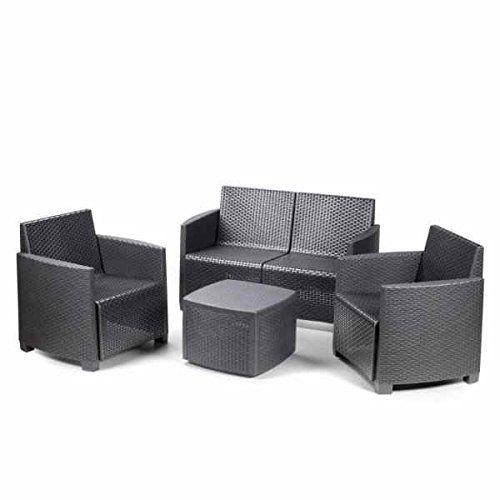 4 Piece Rattan Effect Resin Sofa Set **BY ONLINE GARDEN CENTRE**