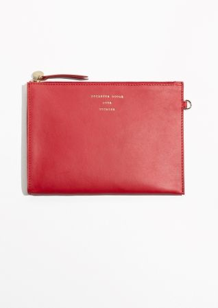Pochette rouge pour voyager  & Other Stories | Zipped Leather Purse