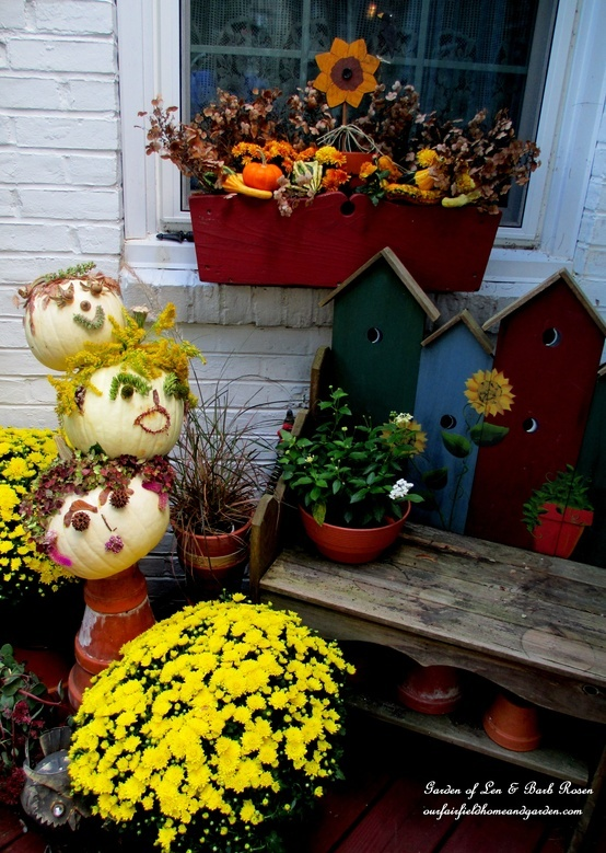 flower box kitchen deck decorated for fall garden of len barb rosen