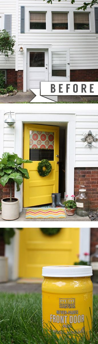 Fab Front Door Makeover with Modern Masters non fade Front Door Paint | Color: Happy | Yellow Door | Project by Robb Restyle