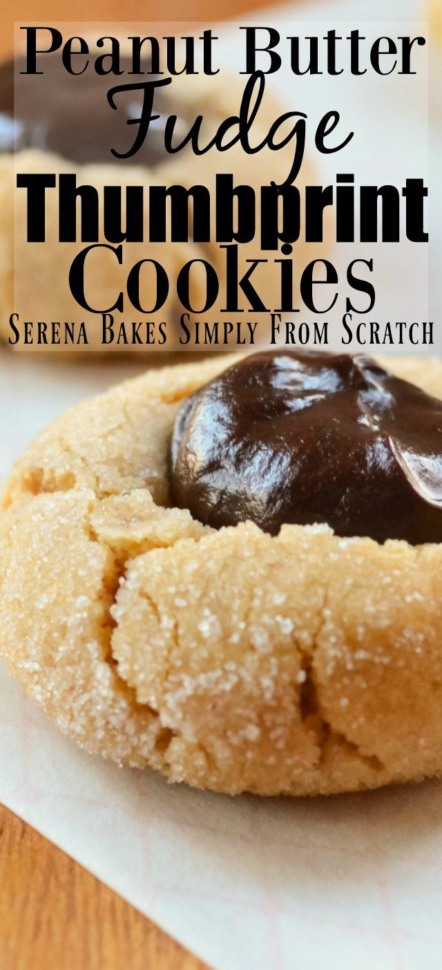 Peanut Butter Fudge Thumbprint Cookies are perfect Christmas Cookies from Serena Bakes Simply From Scratch.