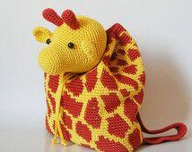 Häkelanleitung für Giraffe Rucksack. Süße und praktische Accessoires für Kinder…