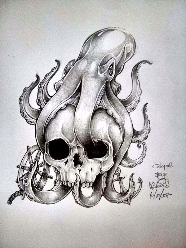 Octopus SKull Drawning by Naveous.deviantart.com on @deviantART
