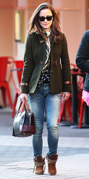 Pippa Middleton's Style  December 20, 2011  It was casual day for Pippa Middleton at the office. Her latest outfit included her Fay olive green coat, washed denim, a checked Maje shirt, shearling booties, and a Loewe bag.