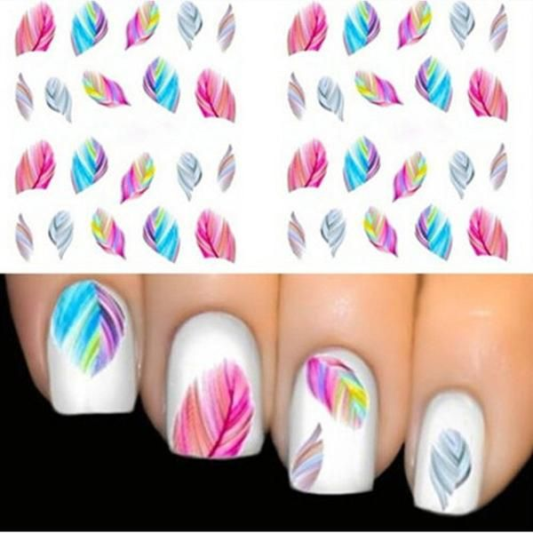 Best 25 nail stickers ideas on pinterest diy nails stickers 1pcs feather nail art decorations water transfer decal nail stickers for nails manicure stickers water rainbow prinsesfo Images
