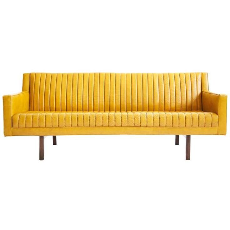 Edward Wormley Bracket Back Sofa. Yellow Leather ...