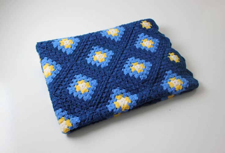 Blue Yellow Crochet Square Afghan Woven Granny Blanket