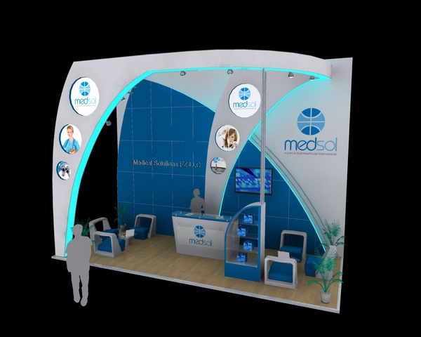 Medsol Exhibition booth design by yahkoob Valappil, via Behance