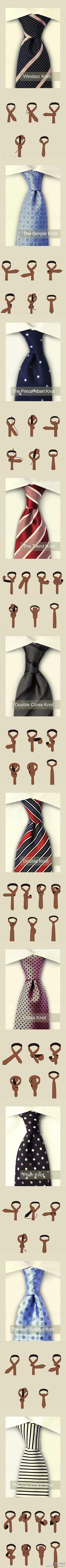 Different ways to tie a Tie  I do have two sons!  This might come in handy later!
