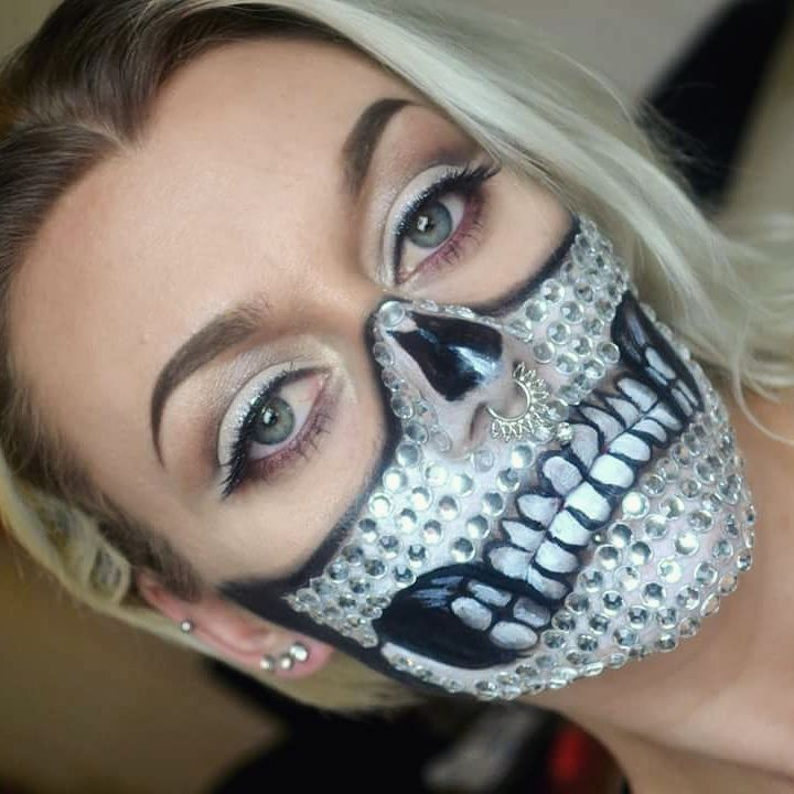 Rhinestone skull makeup. Would love to have another go at this as I think the there are too many teeth or they are too big. Doesn't look quite right to me lol