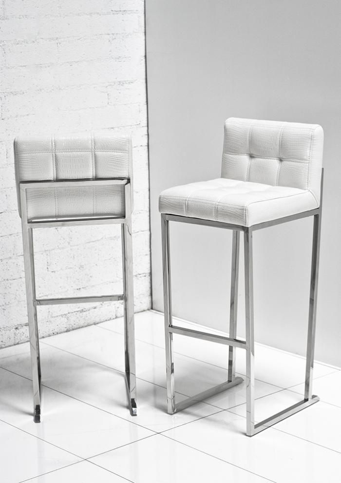 White Croc Bar Stool  sc 1 st  Pinterest : black leather bar stools with backs - islam-shia.org