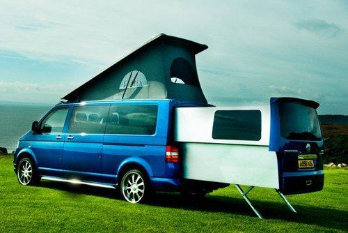 VW Doubleback campervan with the rear extended