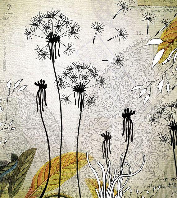 Little Dandelions  Giclee Print 12x12 by onesweetorange on Etsy, $30.00