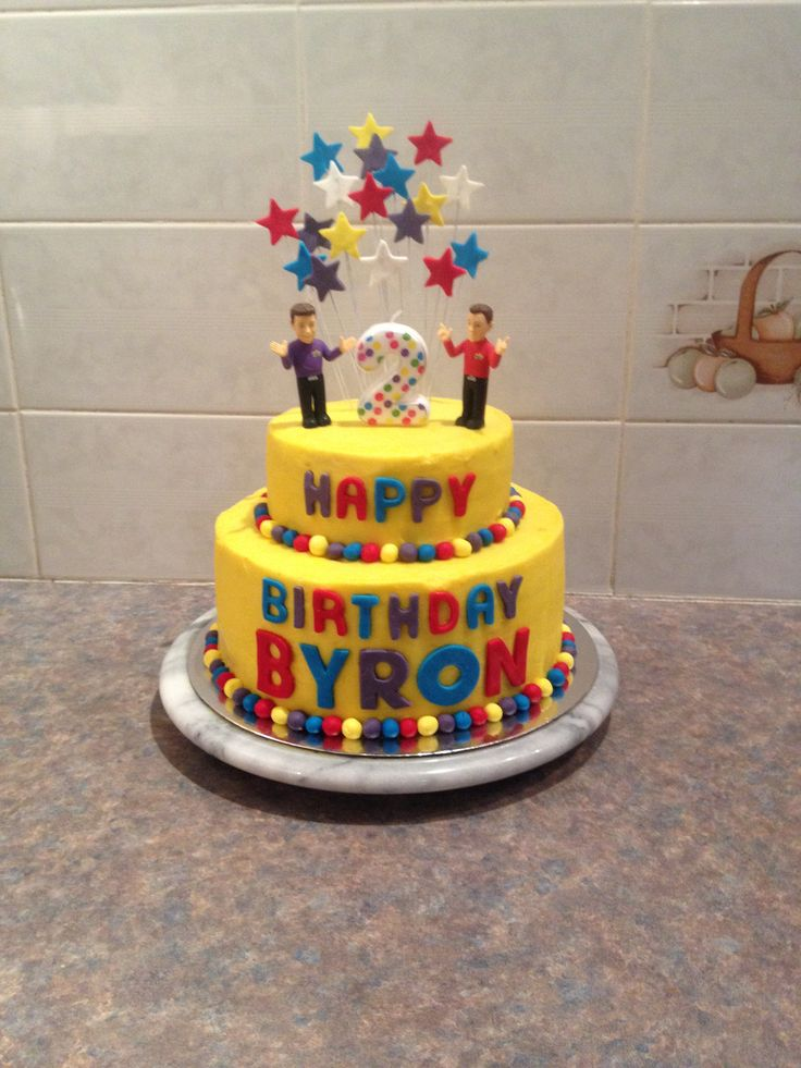 My sons 2nd birthday cake Wiggles cake Second birthday cake Buttercream icing