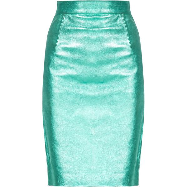 House Of Holland Metallic Leather Pencil Skirt (£765) ❤ liked on Polyvore featuring skirts, bottoms, faldas, green, high waist skirt, high-waisted pencil skirts, metallic skirts, high-waist skirt and high waisted leather skirt