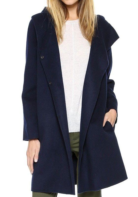 Dark Blue Plain Long Sleeve Wool Trench Coat