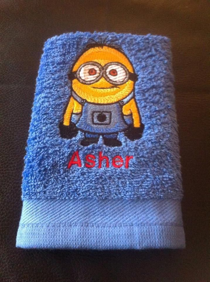 Bath towel with minion embroidery design machine for Bathroom embroidery designs