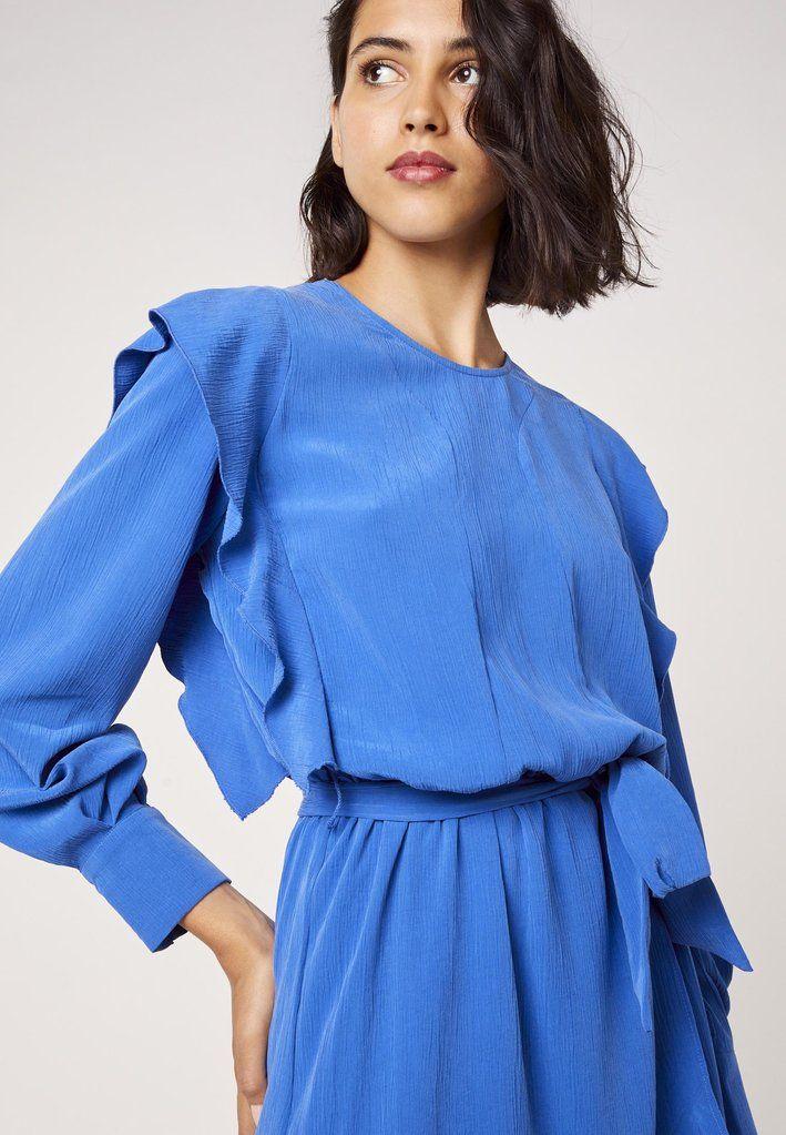 Robe Longue Asymetrique A Volants Bleue Zoom Kookai Robe Robe Longue Belles Robes Longues