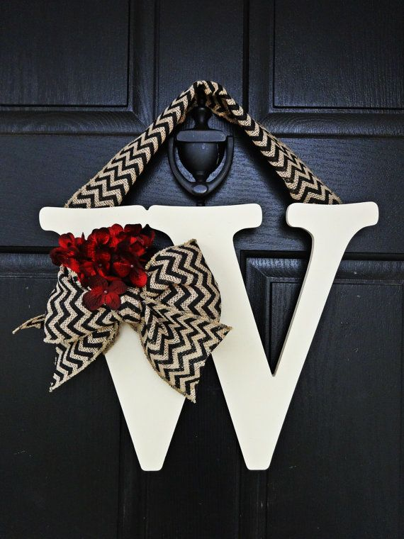 Off White Chevron Burlap and Red Hydrangea Wreath, Hydrangea Monogram Wreath, Chevron Wreath, Front Door Letter, Burlap Letter Wreath
