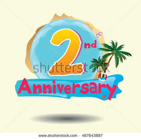 2nd anniversary logo with beach attribute and coconut tree