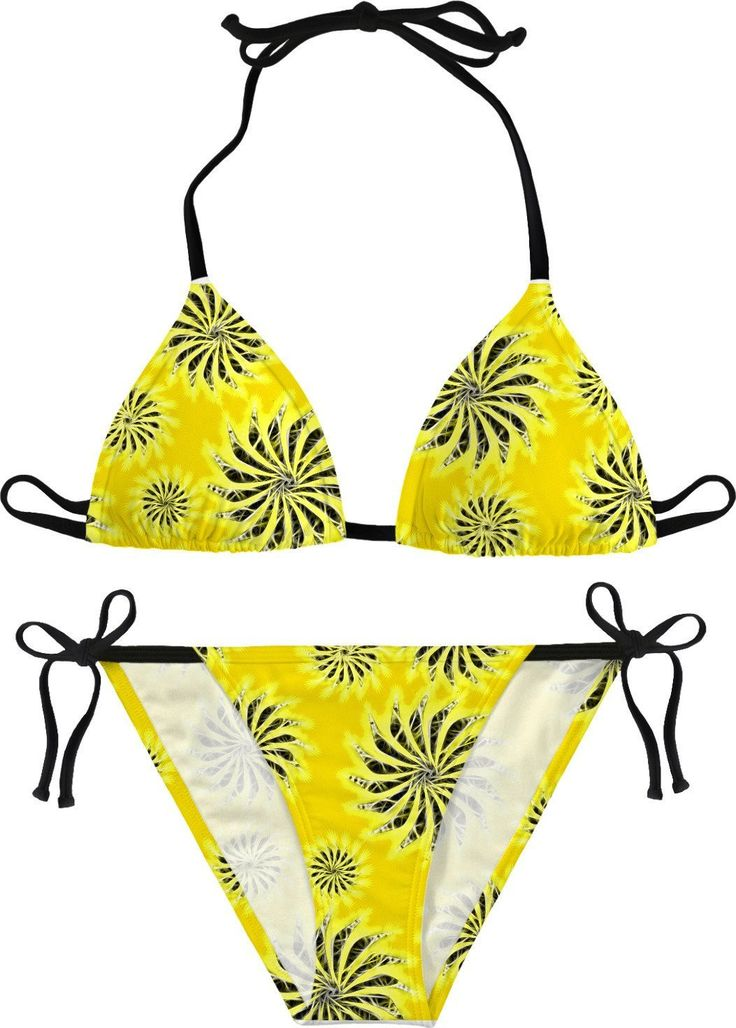 Sunny yellow pattern, silver spinning stars themed bikini, swim suit set, girls summer sunbathing apparel, beach clothing - item printed by www.rageon.com/a/users/casemiroarts - also available at casemiroarts.com  This product is hand made and made on-demand. Expect delivery to US in 11-23 business days (international 14-33 business days).