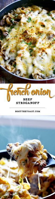 French Onion Beef Stroganoff. All of the greateast parts of your favorite cheesy soup, made into a delicious pasta dish with hearty beef and fluffy egg noodles. This is the definition of comfort food. | hostthetoast.com