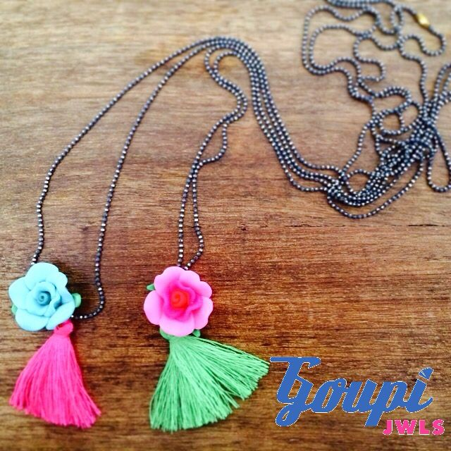 Toy pendants by Goupi Jwls. Roses and tassels in bright colors