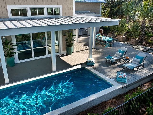 Backyard with pool. Backyard with pool ideas. #Backyard #pool #Deck