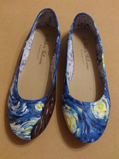 Vincent Van Gogh Starry Night hand painted pump shoes ladies by Arteclair. Etsy