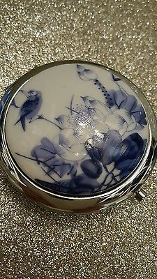 Blue, White & Chrome Double Mirrored Compact - Brand New